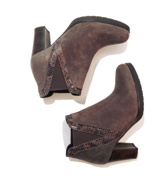 low boots taupe reqins