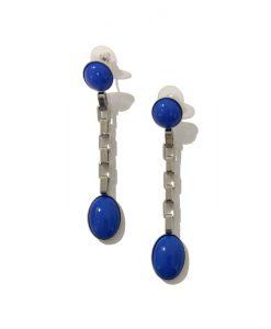 Boucle d' oreille Bleue Argent Philippe FERRANDIS
