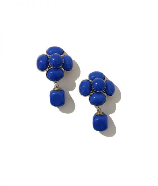 Boucle Clip Camelia Bleu FERRANDIS