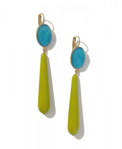 FERRANDIS Boucle Oreille Longue Anis Turquoise