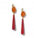 FERRANDIS Boucle Oreille Longue Rouge Orange