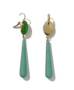 FERRANDIS Boucle Oreille Longue Turquoise Vert