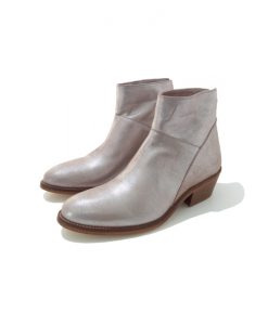 BOTTINES Femme Argent Cuir AMBIANCE