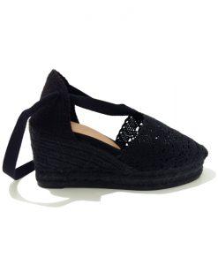 ESPADRILLES Compensées Crochet Noir