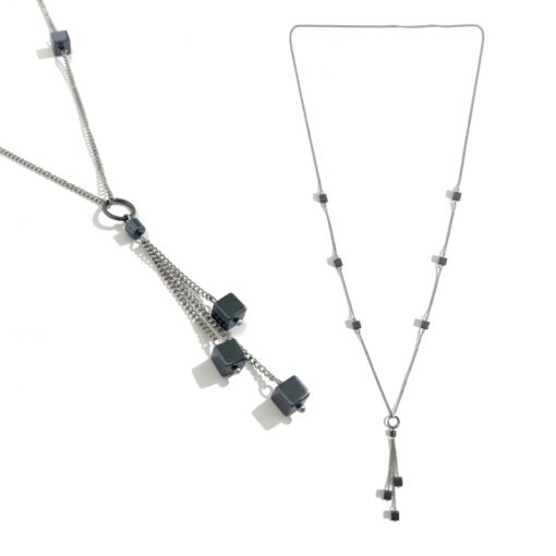 collier argenté carrés hématite