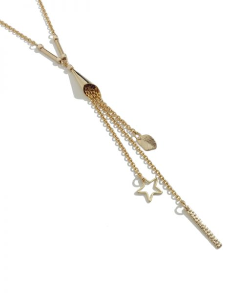collier doré pendentif pampille