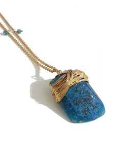 collier long pendentif agate turquoise