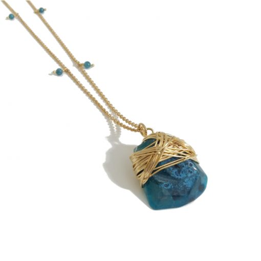 collier pendentif agate turquoise