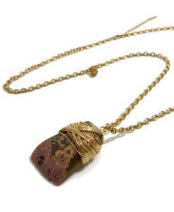 sautoir fantaisie doré pierre agate