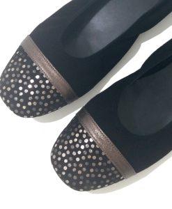 BALLERINE Bicolore Beige Noir REQINS