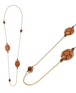 COLLIER Médaillons fantaisie orange marron