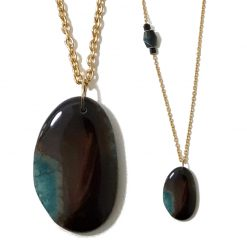 Long Collier Pierre agate naturelle
