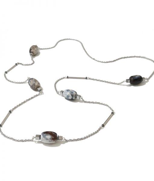 SAUTOIR Chaine Perles Pierres Naturelles