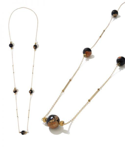 sautoir doré perles agate facette