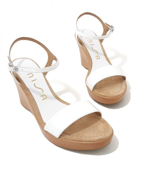 SANDALES Compensees Blanches Cuir UNISA Rita