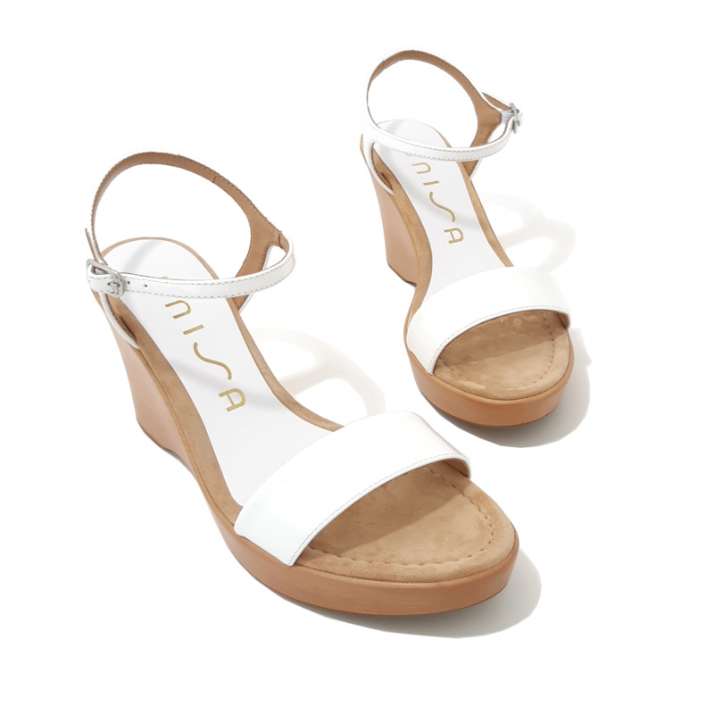 cb77a930149795 SANDALES Compensees Blanches Cuir UNISA Rita - LE 133 CANNES