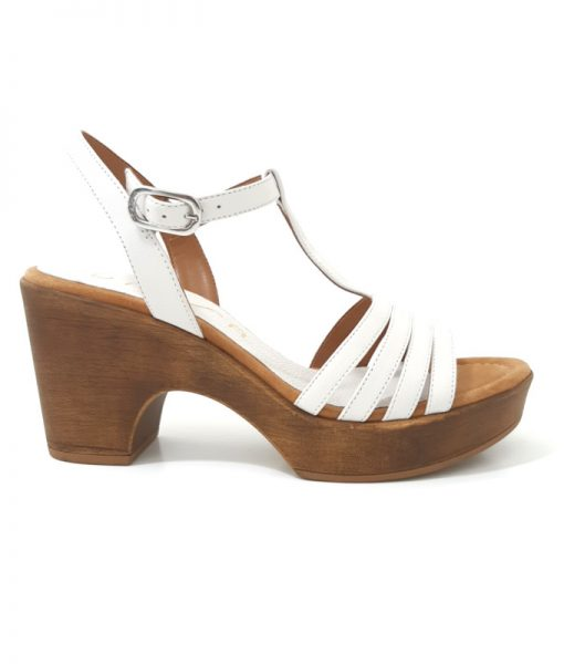 SANDALES Salome Blanches Cuir UNISA