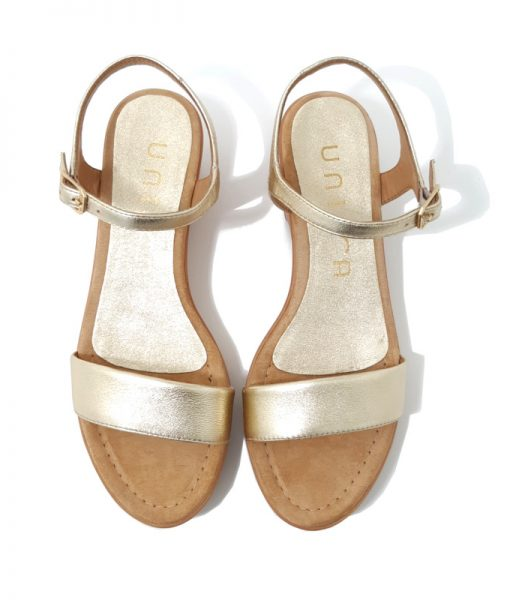 Sandale Plateforme Cuir Doré UNISA
