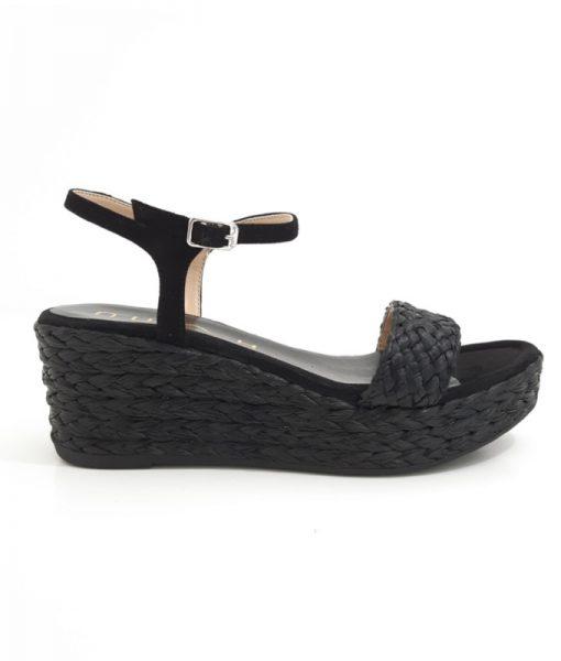 UNISA Sandale Plateforme Rafia Noir