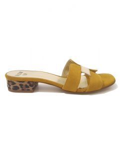 BLOW UP Mules Jaune Petit Talon Leopard