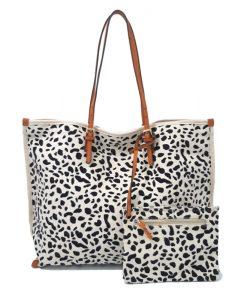 CABAS Eté Imprimé Leopard Blanc Noir