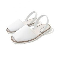 SANDALES Femme Plates Blanches Cuir