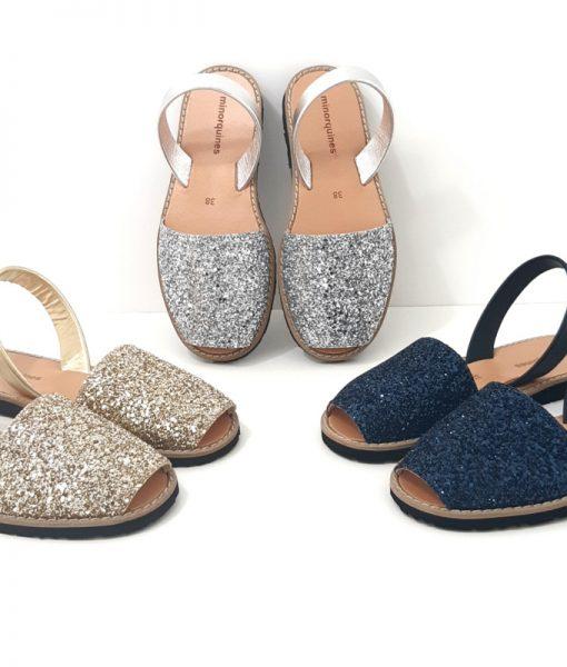 sandales minorquines paillettes couleurs
