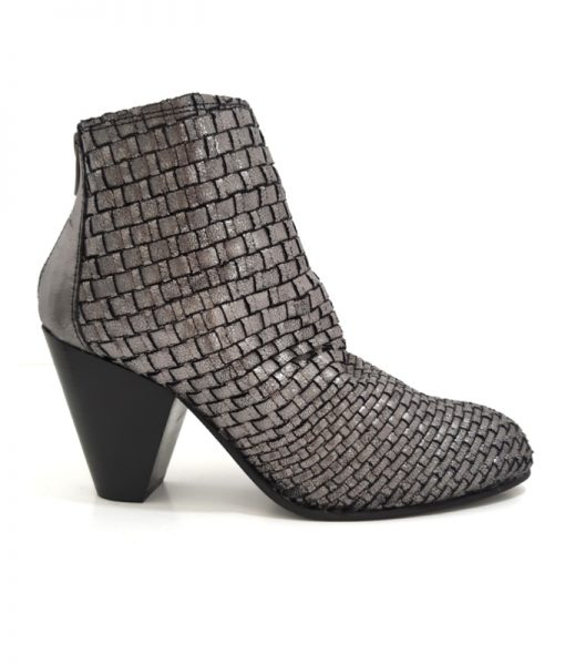 REQINS Boots ZINA Cuir Noir Argent