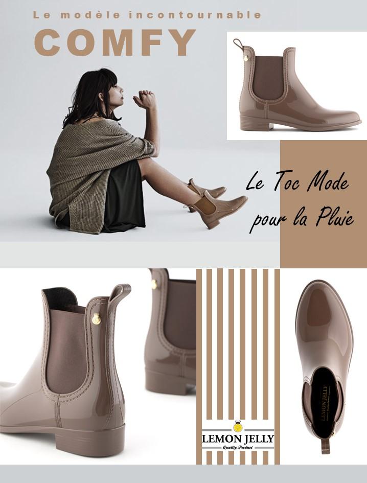 La marque LEMON JELLY Boots de pluie Comfy en caoutchouc souple et parfumé au citron. Bottines femme tendance, notre avis, notre blog