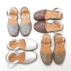 Sandales tendance paillettes minorquines