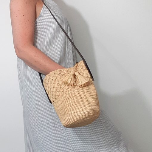 Petit sac Raphia Pompons