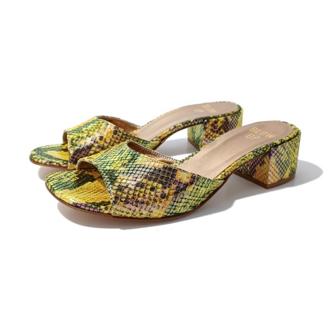 Mules Cuir Python Talon BLOW UP